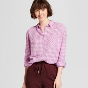 A New Day Gingham Button Down Top